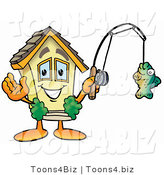 Illustration of a Cartoon House Mascot Holding a Fish on a Fishing Pole by Toons4Biz