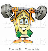 Illustration of a Cartoon House Mascot Holding a Heavy Barbell Above His Head by Toons4Biz