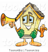 Illustration of a Cartoon House Mascot Holding a Megaphone by Toons4Biz