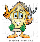 Illustration of a Cartoon House Mascot Holding a Pair of Scissors by Toons4Biz