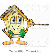 Illustration of a Cartoon House Mascot Holding a Pointer Stick by Toons4Biz
