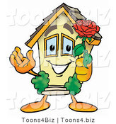Illustration of a Cartoon House Mascot Holding a Red Rose on Valentines Day by Toons4Biz