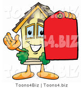 Illustration of a Cartoon House Mascot Holding a Red Sales Price Tag by Toons4Biz