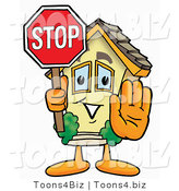 Illustration of a Cartoon House Mascot Holding a Stop Sign by Toons4Biz