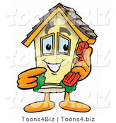 Illustration of a Cartoon House Mascot Holding a Telephone by Toons4Biz