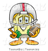 Illustration of a Cartoon House Mascot in a Helmet, Holding a Football by Toons4Biz