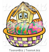 Illustration of a Cartoon House Mascot in an Easter Basket Full of Decorated Easter Eggs by Toons4Biz