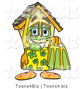 Illustration of a Cartoon House Mascot in Green and Yellow Snorkel Gear by Toons4Biz