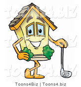 Illustration of a Cartoon House Mascot Leaning on a Golf Club While Golfing by Toons4Biz