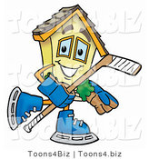 Illustration of a Cartoon House Mascot Playing Ice Hockey by Toons4Biz