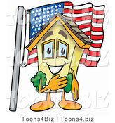 Illustration of a Cartoon House Mascot Pledging Allegiance to an American Flag by Toons4Biz