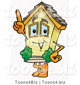 Illustration of a Cartoon House Mascot Pointing Upwards by Toons4Biz
