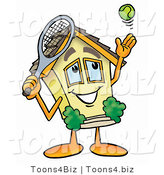 Illustration of a Cartoon House Mascot Preparing to Hit a Tennis Ball by Toons4Biz