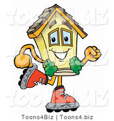 Illustration of a Cartoon House Mascot Roller Blading on Inline Skates by Toons4Biz