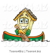 Illustration of a Cartoon House Mascot Rowing a Boat by Toons4Biz