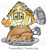 Illustration of a Cartoon House Mascot Serving a Thanksgiving Turkey on a Platter by Toons4Biz
