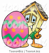 Illustration of a Cartoon House Mascot Standing Beside an Easter Egg by Toons4Biz