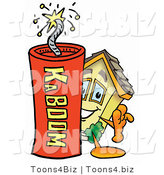 Illustration of a Cartoon House Mascot Standing with a Lit Stick of Dynamite by Toons4Biz