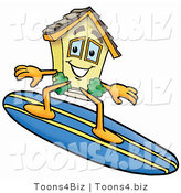 Illustration of a Cartoon House Mascot Surfing on a Blue and Yellow Surfboard by Toons4Biz