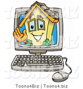 Illustration of a Cartoon House Mascot Waving from Inside a Computer Screen by Toons4Biz