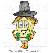 Illustration of a Cartoon House Mascot Wearing a Pilgrim Hat on Thanksgiving by Toons4Biz
