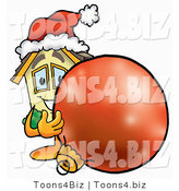 Illustration of a Cartoon House Mascot Wearing a Santa Hat, Standing with a Christmas Bauble by Toons4Biz