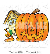 Illustration of a Cartoon House Mascot with a Carved Halloween Pumpkin by Toons4Biz