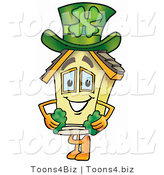 Illustration of a Cartoon House Mascot with a Green Four Leaf Clover on St Paddy's or St Patricks Day by Toons4Biz