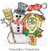 Illustration of a Cartoon House Mascot with a Snowman on Christmas by Toons4Biz