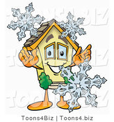 Illustration of a Cartoon House Mascot with Three Snowflakes in Winter by Toons4Biz