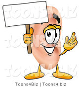 Illustration of a Cartoon Human Ear Mascot Holding a Blank Sign by Toons4Biz