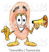 Illustration of a Cartoon Human Ear Mascot Holding a Megaphone by Toons4Biz
