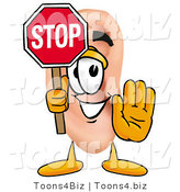 Illustration of a Cartoon Human Ear Mascot Holding a Stop Sign by Toons4Biz