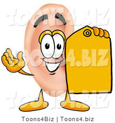 Illustration of a Cartoon Human Ear Mascot Holding a Yellow Sales Price Tag by Toons4Biz