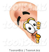 Illustration of a Cartoon Human Ear Mascot Peeking Around a Corner by Toons4Biz