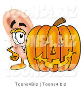 Illustration of a Cartoon Human Ear Mascot with a Carved Halloween Pumpkin by Toons4Biz