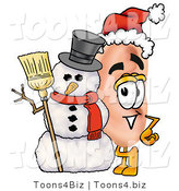 Illustration of a Cartoon Human Ear Mascot with a Snowman on Christmas by Toons4Biz