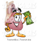 Illustration of a Cartoon Human Heart Mascot Holding a Dollar Bill by Toons4Biz