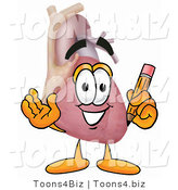 Illustration of a Cartoon Human Heart Mascot Holding a Pencil by Toons4Biz