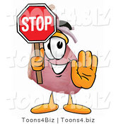 Illustration of a Cartoon Human Heart Mascot Holding a Stop Sign by Toons4Biz