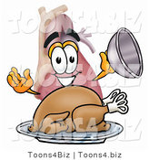 Illustration of a Cartoon Human Heart Mascot Serving a Thanksgiving Turkey on a Platter by Toons4Biz