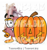 Illustration of a Cartoon Human Heart Mascot with a Carved Halloween Pumpkin by Toons4Biz