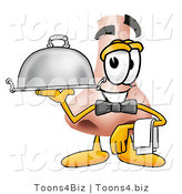 Illustration of a Cartoon Human Nose Mascot Dressed As a Waiter and Holding a Serving Platter by Toons4Biz