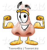 Illustration of a Cartoon Human Nose Mascot Flexing His Arm Muscles by Toons4Biz