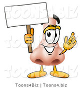 Illustration of a Cartoon Human Nose Mascot Holding a Blank Sign by Toons4Biz