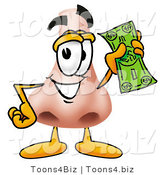 Illustration of a Cartoon Human Nose Mascot Holding a Dollar Bill by Toons4Biz