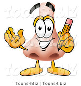 Illustration of a Cartoon Human Nose Mascot Holding a Pencil by Toons4Biz