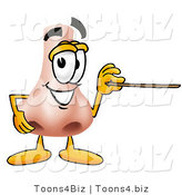 Illustration of a Cartoon Human Nose Mascot Holding a Pointer Stick by Toons4Biz