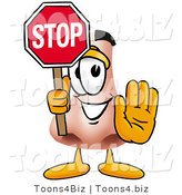 Illustration of a Cartoon Human Nose Mascot Holding a Stop Sign by Toons4Biz
