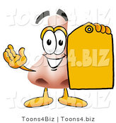 Illustration of a Cartoon Human Nose Mascot Holding a Yellow Sales Price Tag by Toons4Biz